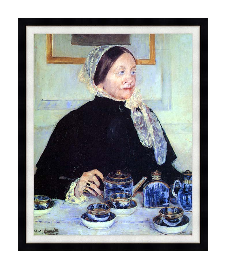 Mary Cassatt Lady at the Tea Table with Modern Black Frame