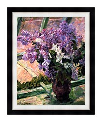 Mary Cassatt Lilacs In The Window canvas with modern black frame