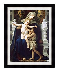 William Bouguereau Madonna And Child With Saint John The Baptist canvas with modern black frame
