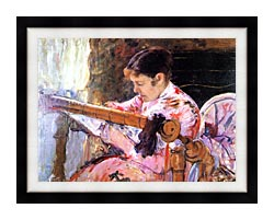 Mary Cassatt Lydia At The Tapestry Loom canvas with modern black frame