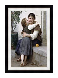 William Bouguereau A Little Coaxing canvas with modern black frame