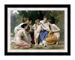 William Bouguereau Admiration canvas with modern black frame