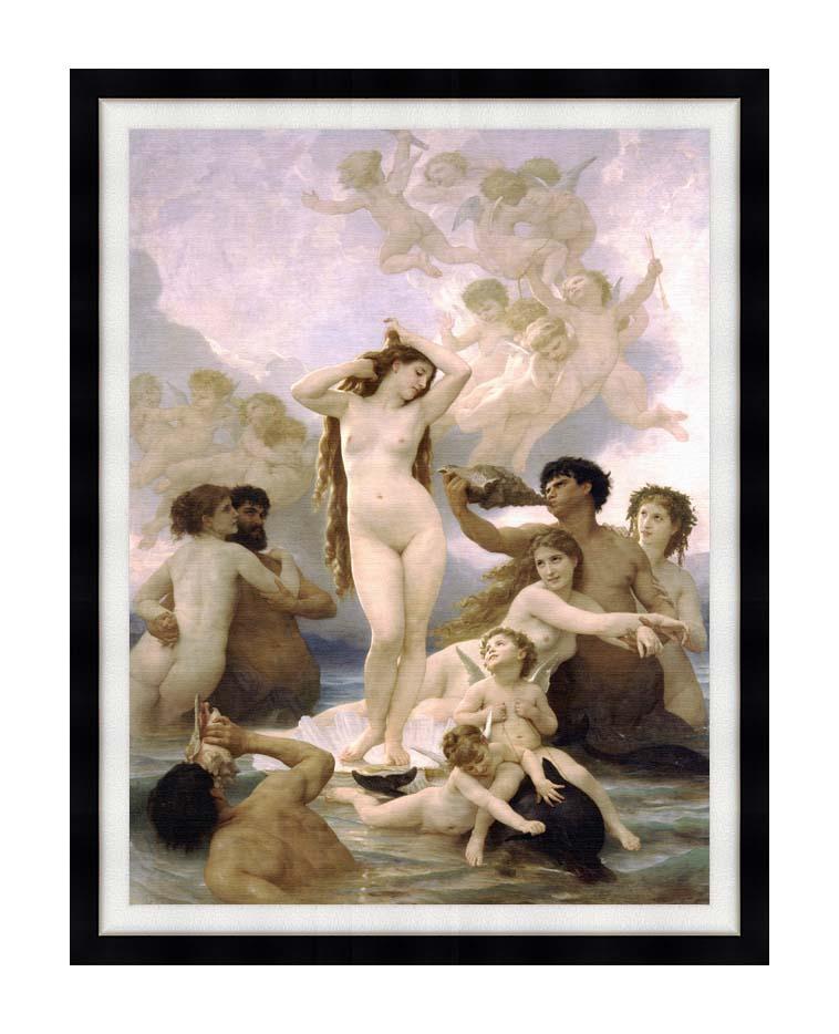 William Bouguereau The Birth of Venus with Modern Black Frame