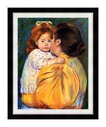 Mary Cassatt Maternal Kiss canvas with modern black frame
