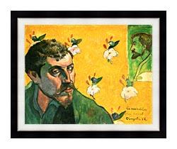 Paul Gauguin Self Portrait Dedicated To Vincent Van Gogh canvas with modern black frame