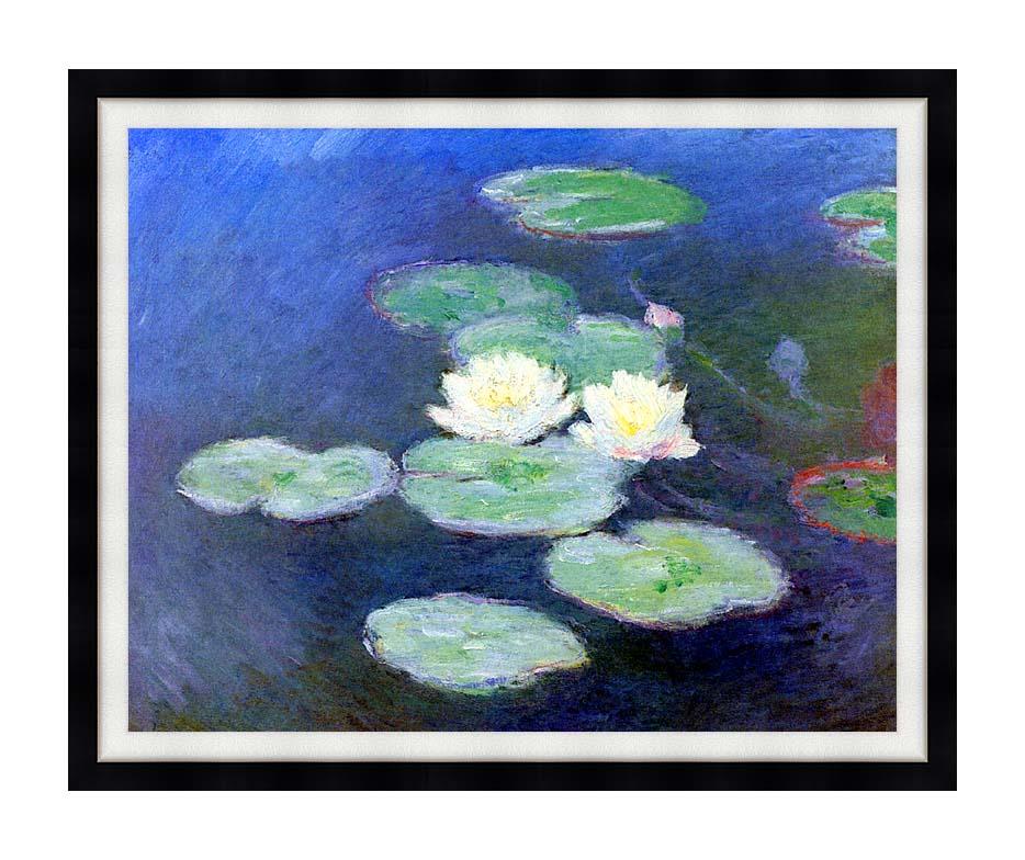 Claude Monet Nympheas, Effet du Soir with Modern Black Frame
