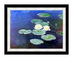 Claude Monet Nympheas Effet Du Soir Detail canvas with modern black frame