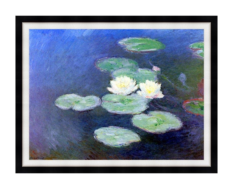 Claude Monet Nympheas, Effet du Soir (detail) with Modern Black Frame