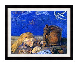 Paul Gauguin Sleeping Child canvas with modern black frame