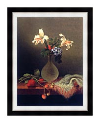 Martin Johnson Heade A Vase Of Corn Lilies And Heliotrope canvas with modern black frame