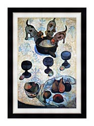 Paul Gauguin Still Life With Three Puppies canvas with modern black frame