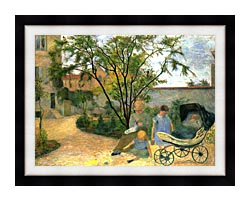 Paul Gauguin The Artists Family In The Garden Of Rue Carcel canvas with modern black frame