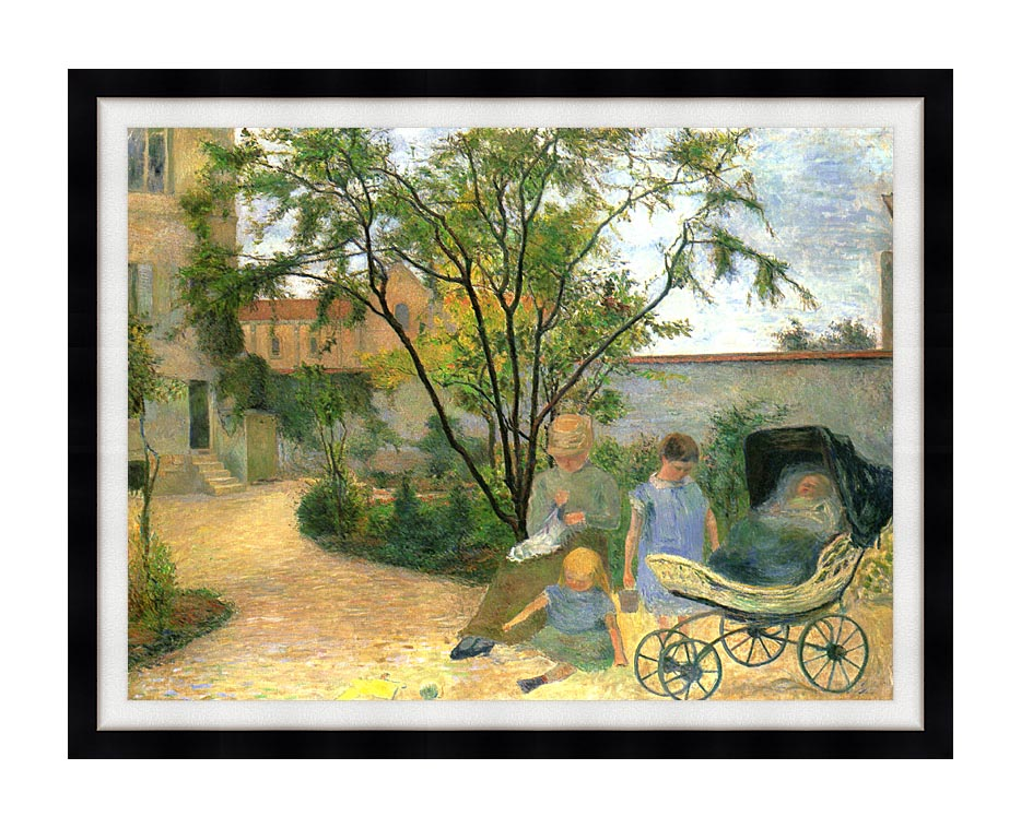 Paul Gauguin The Artist's Family in the Garden of Rue Carcel with Modern Black Frame