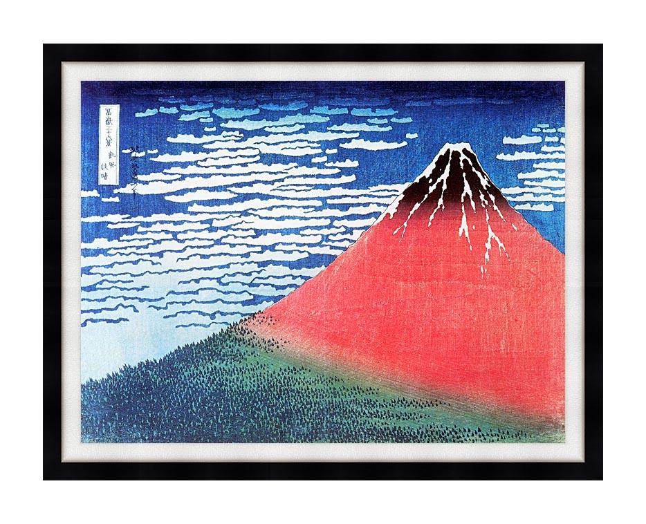 Katsushika Hokusai Mount Fuji in Clear Weather with Modern Black Frame