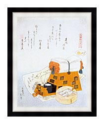Katsushika Hokusai A Pillow And A Drawing Of A Good Luck Ship A New Years Custom canvas with modern black frame