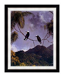 Martin Johnson Heade Snowcap Hummingbirds canvas with modern black frame