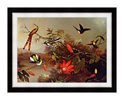 Martin Johnson Heade Tropical Landscape With Ten Hummingbirds canvas with modern black frame