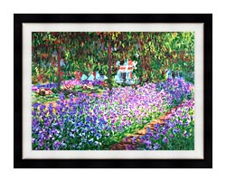 Claude Monet The Artists Garden At Giverny Detail canvas with modern black frame