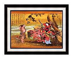 Katsushika Hokusai Tametomo And The Demons At Onigashima canvas with modern black frame