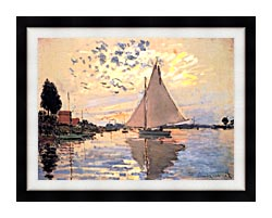 Claude Monet Sailboat At Petit Gennevilliers canvas with modern black frame