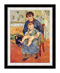 Pierre Auguste Renoir Mother And Child In A Chair canvas with modern black frame