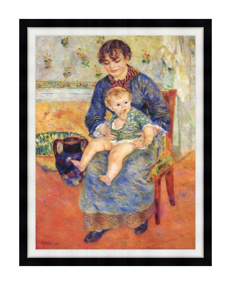 Pierre Auguste Renoir Mother and Child in a Chair with Modern Black Frame