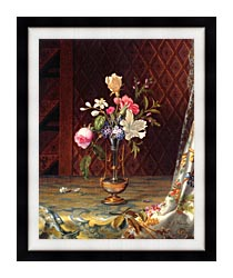 Martin Johnson Heade Vase Of Mixed Flowers canvas with modern black frame