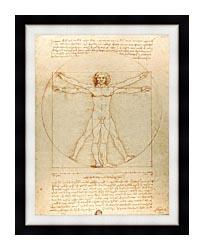 Leonardo Da Vinci Vitruvian Man canvas with modern black frame