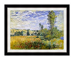Claude Monet Vetheuil canvas with modern black frame