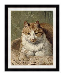 Henriette Ronner Knip Carefree Cat canvas with modern black frame
