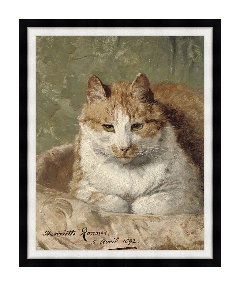 Henriette Ronner Knip Carefree Cat with Modern Black Frame