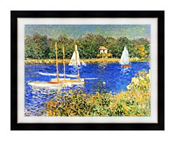 Claude Monet Sailboats At The Basin At Argenteuil canvas with modern black frame