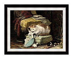 Henriette Ronner Knip A New Place To Hide canvas with modern black frame