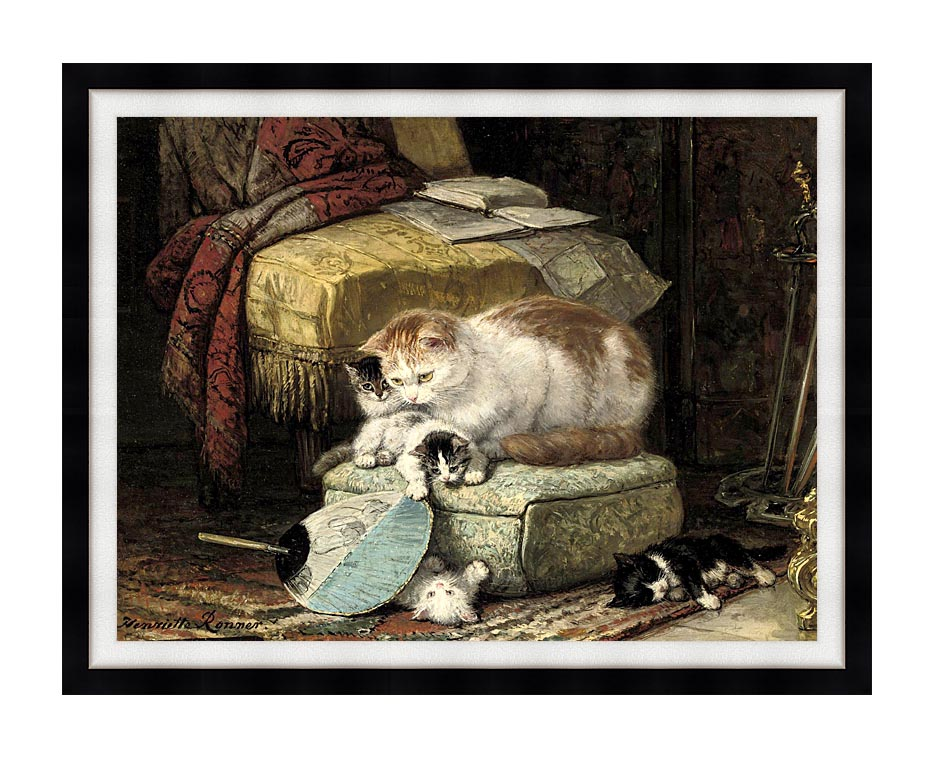 Henriette Ronner Knip A New Place to Hide with Modern Black Frame