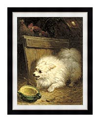 Henriette Ronner Knip In The Barn canvas with modern black frame