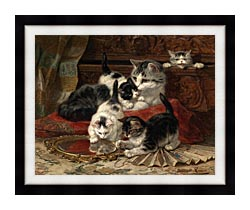 Henriette Ronner Knip Mother And Kittens Playing With A Hand Mirror canvas with modern black frame