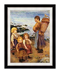 Pierre Auguste Renoir Mussel Fishers At Berneval canvas with modern black frame