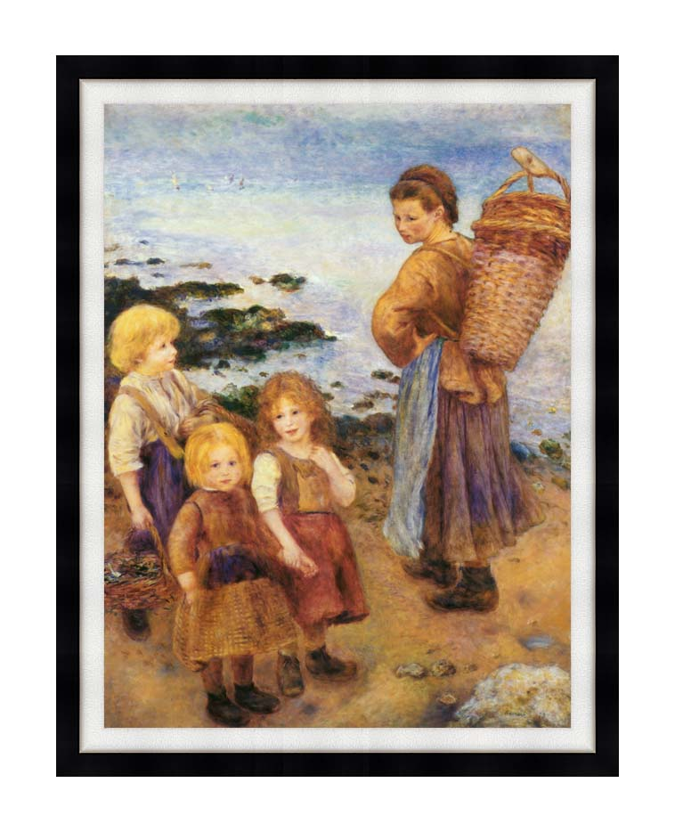 Pierre Auguste Renoir Mussel Fishers at Berneval with Modern Black Frame