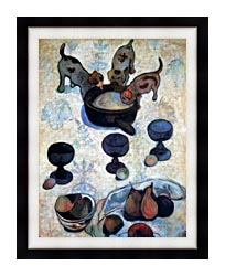 Paul Gauguin Still Life With Three Puppies Detail canvas with modern black frame