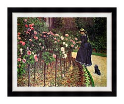 Gustave Caillebotte Roses Garden At Petit Gennevilliers canvas with modern black frame