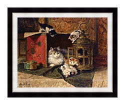 Henriette Ronner Knip A Mother Cat Watching Her Kittens Playing canvas with modern black frame