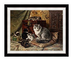 Henriette Ronner Knip A Cat And Her Kittens At Play canvas with modern black frame