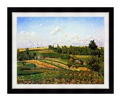 Camille Pissarro Harvest Landscape At Pontoise canvas with modern black frame