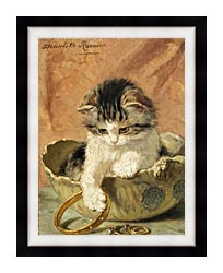 Henriette Ronner Knip A Kitten Playing With Jewelry canvas with modern black frame
