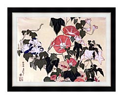 Katsushika Hokusai Morning Glories And Tree Frog canvas with modern black frame