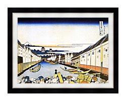 Katsushika Hokusai Mount Fuji And Edo Castle Seen From Nihonbashi canvas with modern black frame