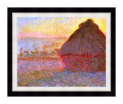 Claude Monet The Grainstack Sunset canvas with modern black frame