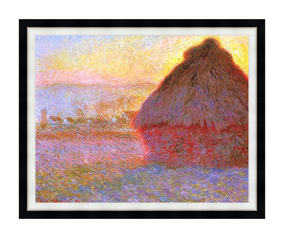 Claude Monet The Grainstack, Sunset with Modern Black Frame