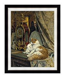 Henriette Ronner Knip A Mother Cat And Her Kitten With A Bracket Clock canvas with modern black frame