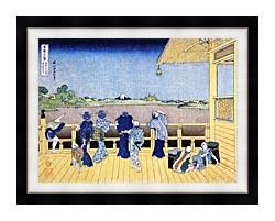 Katsushika Hokusai People On The Balcony Of The Gohyaku Rakan Temple canvas with modern black frame